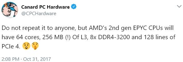 AMD第二代EPYC处理器曝光:64核、支持PCIe 4.0