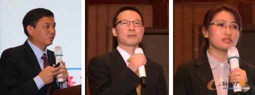 图11 从左至右:斯欧信息技术股份有限公司CEO于万钦    上海思普信息技术有限公司总经理应思红    上海联宏创能信息科技有限公司技术副总监冒小萍